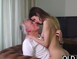 Old and Young Pornography - Babysitter pussy fucked by old man and swallows cum