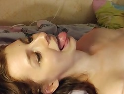 Enthusiastic little fuckdoll rims her daddy till he cums in her mouth.
