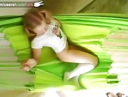 CODEFUCK wondrous solo in green hammock masturbate in tights frigging pussy