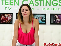 Busty teen roughfucked doggy style at casting