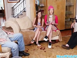 Amateur teens trio with naughty oldguys