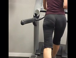 PERFECT View of 2 Chicks with SEE Through stretch pants in gym! VPL