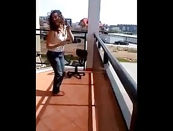 Polish Teen strips on Balcony